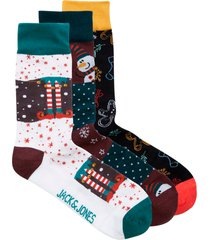 strumpor jacblock strip xmas socks giftbox 3-pack