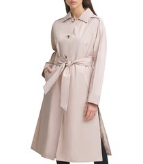 karl lagerfeld paris women's belted a-line trench coat - beige - size m