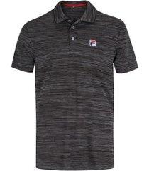 camisa polo fila action ii - masculina - preto mescla