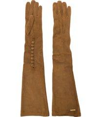 dsquared2 goat skin long gloves - brown