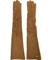 dsquared2 goat skin long gloves - brown