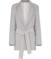 paris georgia front-tie single-breasted blazer - grey
