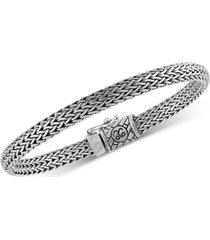 esquire men's jewelry woven bracelet in sterling silver