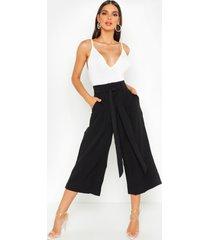 pleated waist wide leg culottes, black