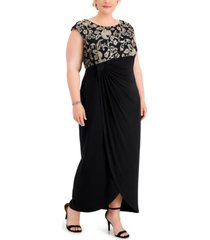 connected plus size embroidered gathered-waist gown