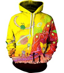 rick and morty adult swim pullover hoodie - trippy alien planet artwork