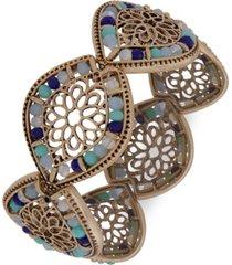 lonna & lilly gold-tone filigree & bead stretch bracelet