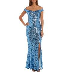 women's morgan & co. convertible neckline sequin swirl trumpet gown