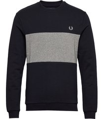 col. block crew sweat sweat-shirt trui blauw fred perry