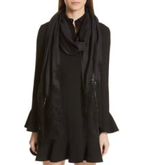 women's valentino lace trim modal & cashmere scarf, size one size - black