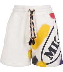 palm angels woman white sports shorts capsule with multicolor print