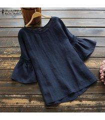 zanzea mujer de manga larga cuello de o casual llanura blusa holgada tops sólidos más el tamaño tee -azul marino