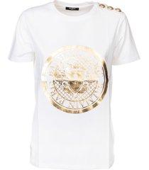 balmain round logo shoulder embellished t-shirt