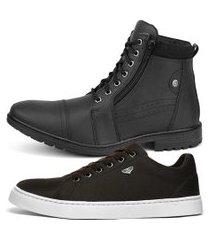 kit de bota coturno rebento com sapatênis casual skate board preto e café
