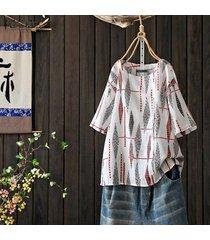 zanzea camisa de manga corta para mujer tops blusa holgada de cuadros étnicos extragrandes tallas grandes -blanco