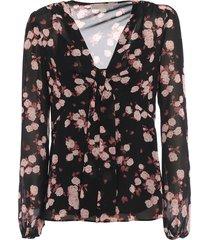 knot detail print georgette blouse