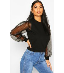 petite organza sleeve sweat top, black