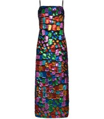 taller marmo mahogany metallic patchwork maxi dress - blue