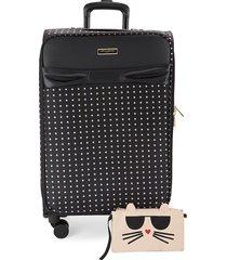 karl lagerfeld paris 27.5-inch spinner suitcase - black