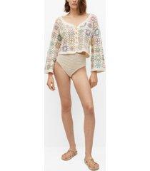 mango women's cotton crochet cardigan