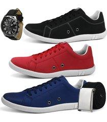 kit sapatãªnis confortã¡vel casual rebento preto vermelho azul + brindes - azul/preto/vermelho - masculino - lona - dafiti