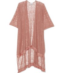 women's lace kimono with fringe coral one size from sole society