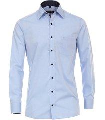 casamoda overhemd licht navy print details poplin kent comfort fit blauw