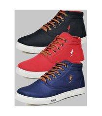 kit 3 pares sapatênis casual botinha masculino polo blu azul/vermelho/preto
