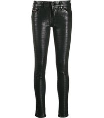 diesel crocodile embossed skinny jeans - black