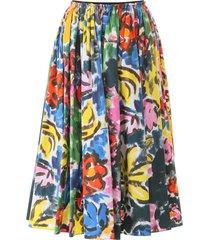 carmen print flared skirt