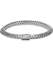 classic chain' diamond sapphire sterling silver bracelet