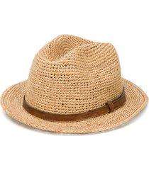 ibeliv chapéu com tira de couro - neutro