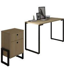conjunto escritã³rio mesa escrivaninha 120cm e gaveteiro 2 gavetas estilo industrial new port f02 nature - mpozenato - marrom - dafiti