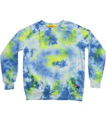 women's aviator nation tie dye crewneck sweatshirt, size x-large - yellow