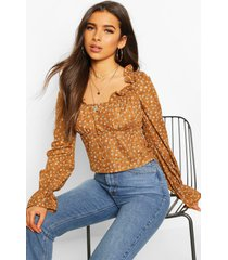 ditsy floral ruffle flute sleeve woven blouse, camel