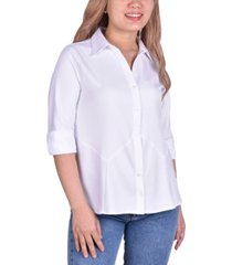 ny collection women's plus size button front blouse with wide cuff
