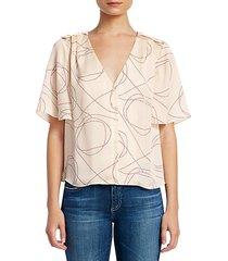 cadell print flounce blouse