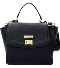 bolsa feminina maria verônica couro preto com fecho