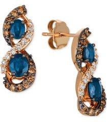 le vian chocolatier blueberry sapphire (1-1/8 ct. t.w.) & diamond (5/8 ct. t.w.) drop earrings in 14k rose gold