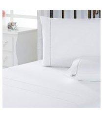 jogo de cama solteiro plumasul classic percal 230 fios 3 pçs branco