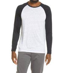 men's vince raglan baseball linen t-shirt, size xx-large - blue