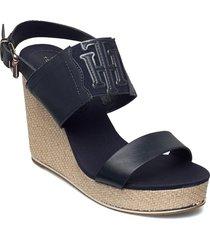 th elastic high wedge sandal sandalette med klack espadrilles svart tommy hilfiger