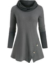 striped cowl neck mock button tunic knitwear