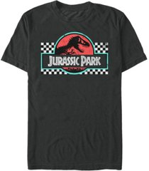 fifth sun jurassic park men's retro colors checkered logo short sleeve t-shirt