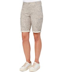 women's wit & wisdom ab-solution leopard print cuff bermuda shorts, size 16 - beige (nordstrom exclusive)