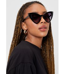 womens caught in the act tinted cat-eye sunglasses - black