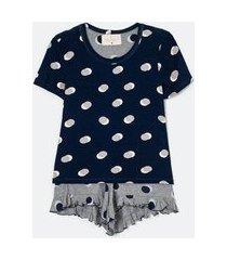pijama blusa manga curta e short estampado poá | lov | azul | m