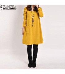 zanzea otoño mujer casual algodón suelto bolsillos sólidos vestido túnica mujer manga larga cuello en v vestidos vestidos femininas tallas grandes amarillo -amarillo