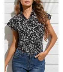 blusa sin mangas con cuello de volantes y cuello clásico de yoins