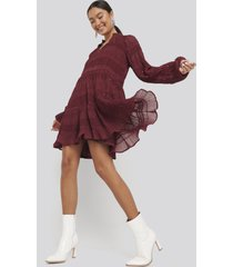 na-kd boho sequin detail flowy dress - red
